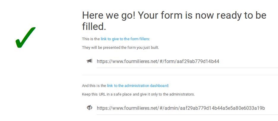 Capture de l'écran avec les URLs générées