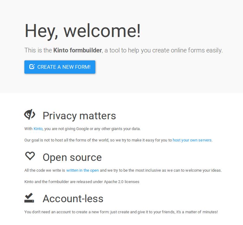 Capture de la page d'accueil, ou aucun compte n'est requis